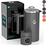 French Press Coffee Maker by Coffee Gator - Hotter-For-Longer Thermal Brewer - Plus Travel Jar - Large Capacity, Double-Wall Insulated, Dishwasher-Safe Stainless Steel - 34oz - Gray