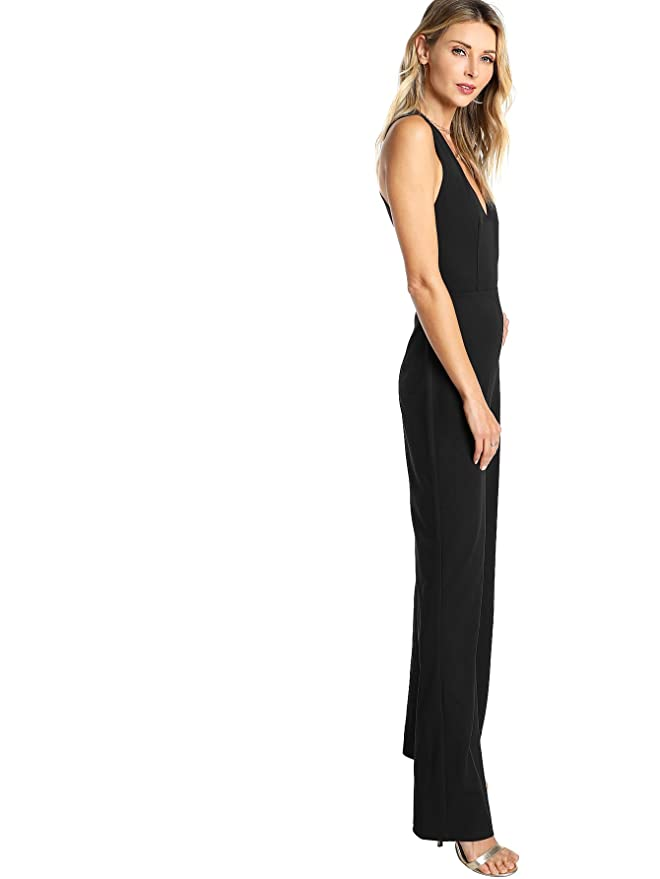 9e82e4e026e Amazon.com  MAKEMECHIC Women s Sexy Deep V Neck Sleeveless Wide Leg Loose  Jumpsuits Rompers  Clothing