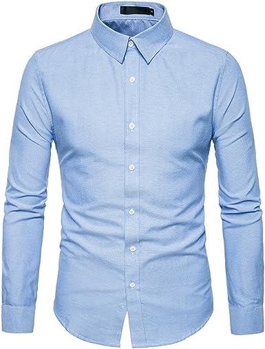 Tobaling - Camisa de manga larga para hombre, fácil de planchar, no necesita planchado, corte perfecto, informal, negocios