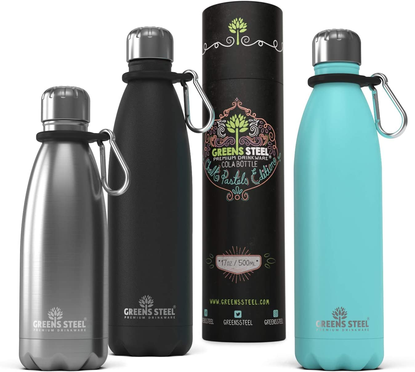 Stainless Steel Water Bottle - Vacuum Insulated Double Wall Leak Proof with Screw Lid & Carabiner - Thermos Sports Flask 24 Hours Cold/ 12 Hours Hot - Bonus Value Bundle