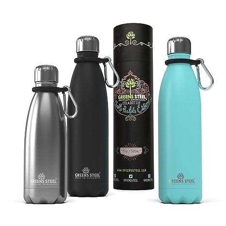 Greens Steel Botella de Agua de Acero Inoxidable – 350ml Aislado al Vacío con Doble Pared con Tapa Presionable/a Prueba de Fugas Termal Viajes ...