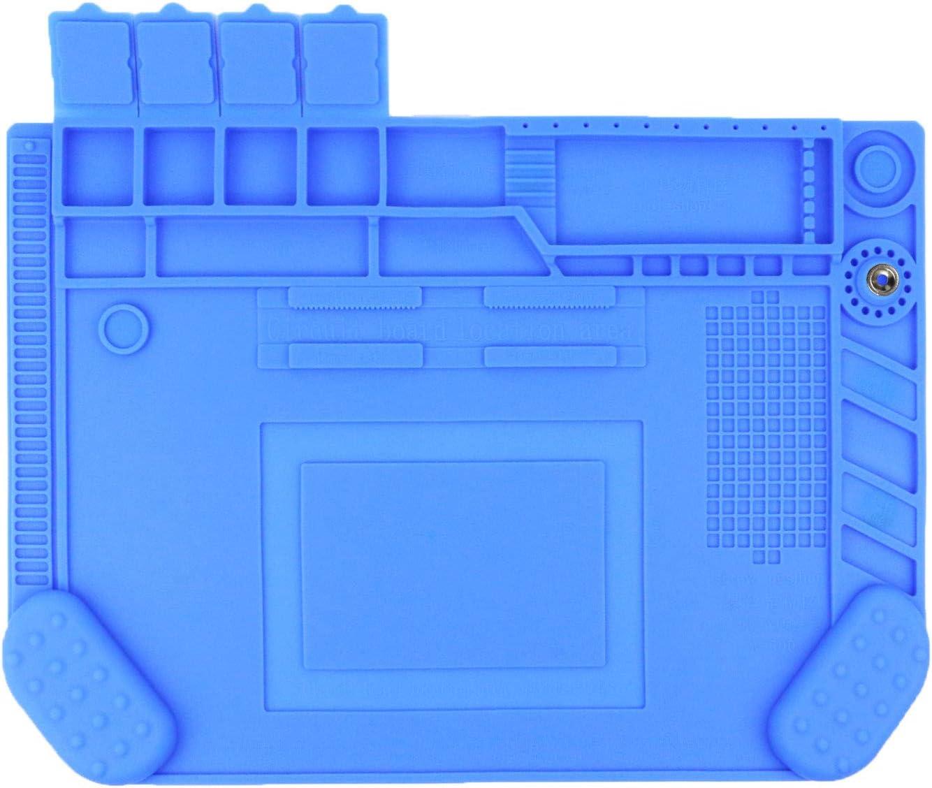 Large Soldering Mat Silicone Heat Resistant Mat Repair Mat 18.8 x12.6 Design with Wrist Guards Electronics Mat for Heat Gun,Soldering Iron,Soldering Station,Cellphone Laptop Repair