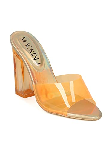 65e51a98603 Alrisco Women Perspex Open Toe Chunky Heel Slip On Sandal HH03 - Orange  (Size