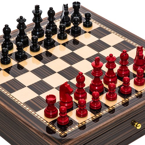 Contemporary Staunton Chessmen & Seventh Avenue Maple & Walnut Chess Board/Cabinet with Two Drawers
