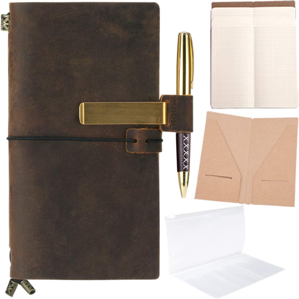 Refillable Leather Journal Refillable Travelers Notebook for Men 8.5 x 4.5 Leather Travel Journal with 5 Inserts Travel Diary Planner for Women ...