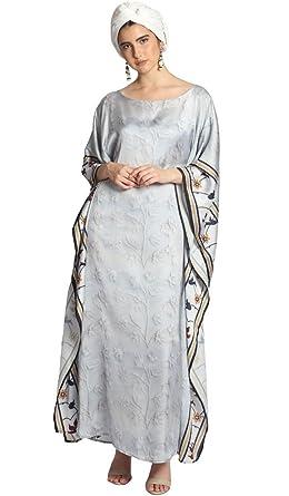 007e3377cd9 Artizara Mumtaz Kaftan for Women Long Sleeve Silky Maxi Dress Formal  Evening Dress Off White
