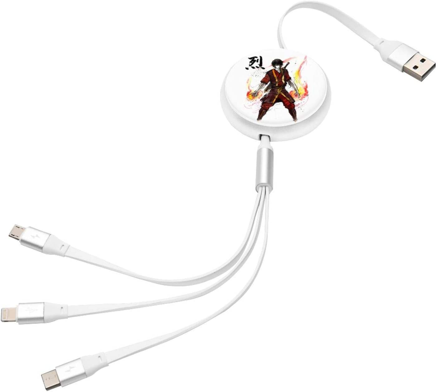 Hero Academia Katsuki Bakugou 3 in 1 Retractable Multiple Charging Cable 3.0a Fast Charger Cord with Phone//Type C//Micro USB Charge Port Adapter Compatible with Cell Phones Tablets and More