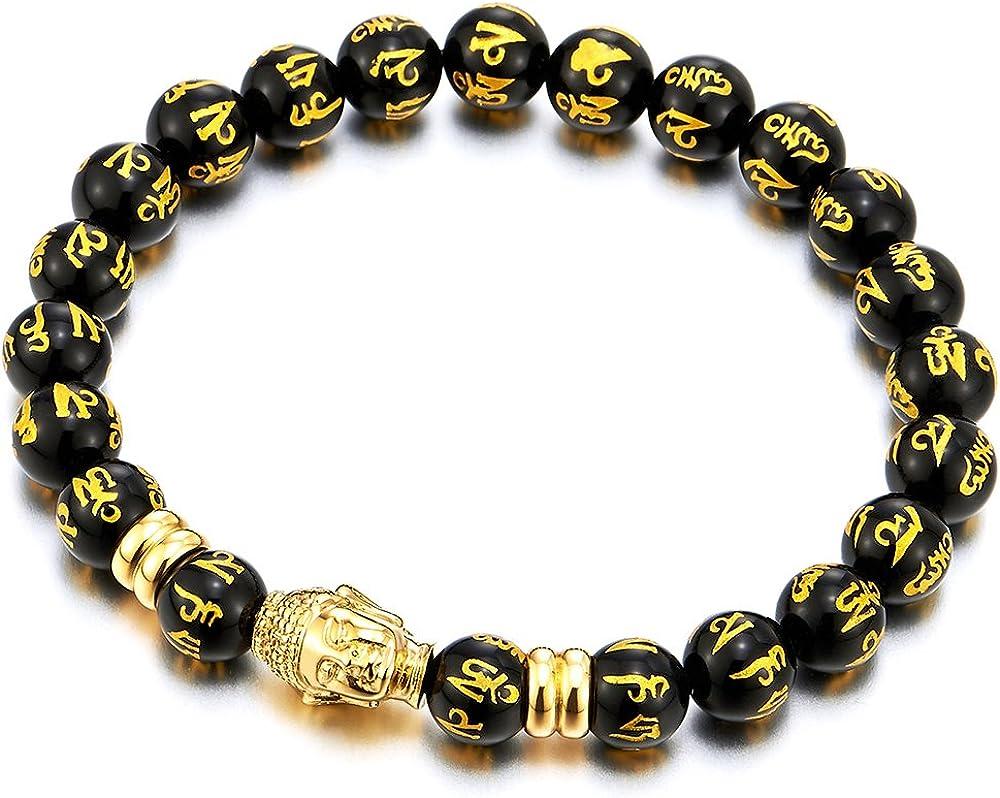COOLSTEELANDBEYOND Men Women Black Tibetan Beads Steel Gold Buddha Bracelet, Mantra Om Mani Padme Hum Prayer