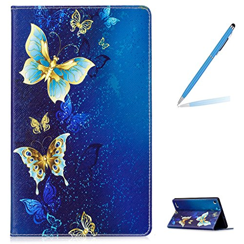 Trumpshop Tablet PC Protective Case for Amazon All-New Fire 7 (2017 Release) 7-Inch + Blue Butterflies + PU Leather Flip Wallet Cover Stand Feature (2017 Trends For Halloween)