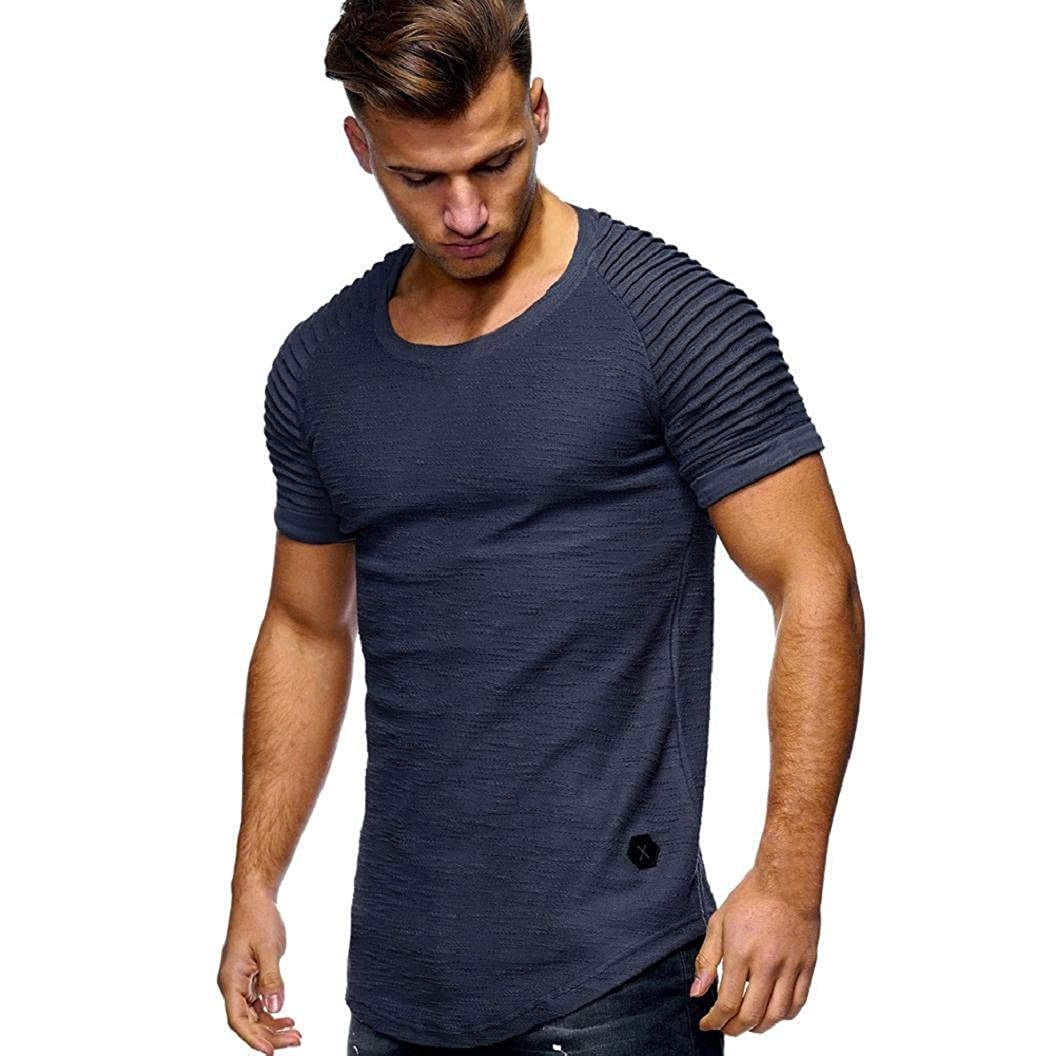 Piebo Sale Clearance Mens Short Sleeve Slim Fit O Neck Cotton Casual Tee Shirts Tops Blouse Power Muscle Fit T Shirts
