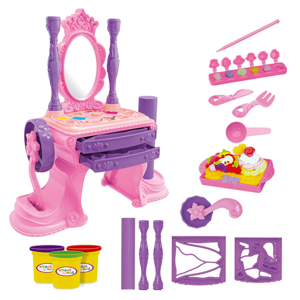 NszzJixo9 Girls Make Up Dressing Table Set , Kids Vanity Table,Glamorous Princess Dressing Table with Stool, Mirror, Hair Dryer,Best Gift for Girls by NszzJixo9 (Image #1)