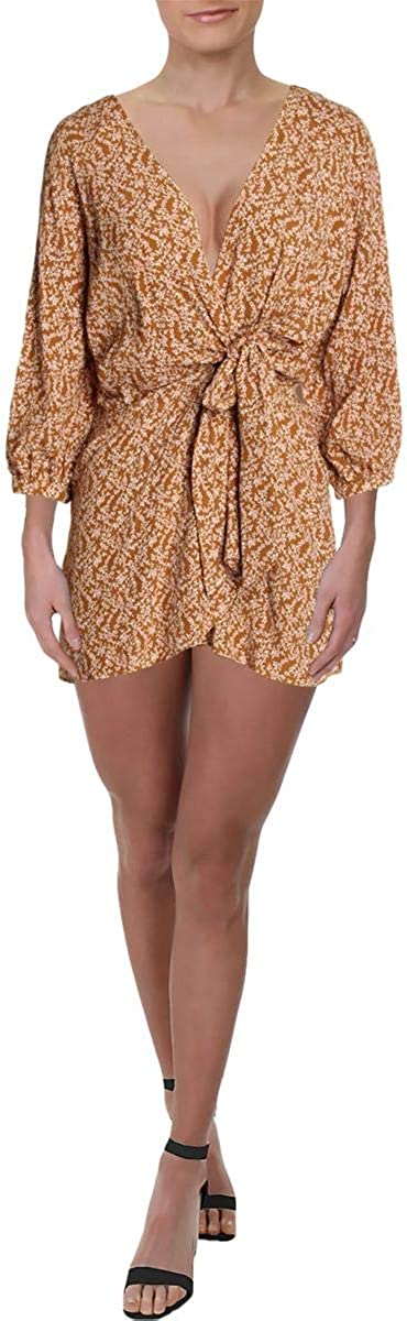 Free People Womens Clara Floral Mini Tunic Dress