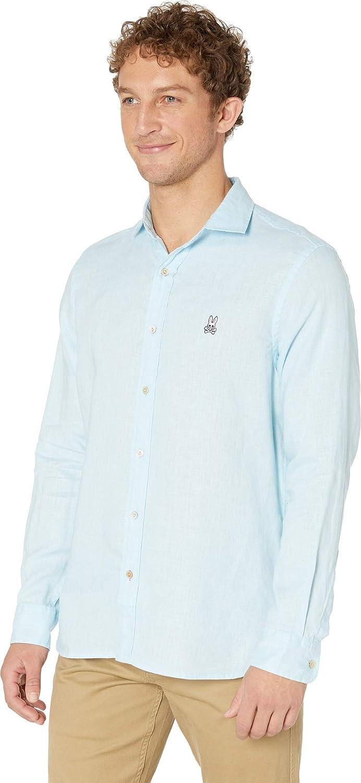Psycho Bunny Mens Styford Long Sleeve Linen Shirt