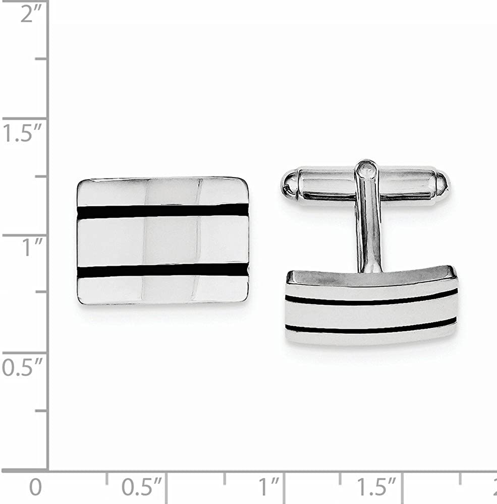 925 Sterling Silver Mens Black Enameled Cuff Links