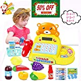 Cash Register Toy Math Learning Electronic Calculator for Kids 3,4,5 Year Old with Scanner, Pretend Play Food and Little Shopping Basket Grocery Play Set- Realistic Sound & Action