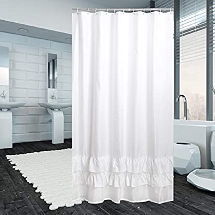 YUUNITY Ruffle White Shower Curtain Polyester Fabric Mildew Resistant Anti Bacterial Non