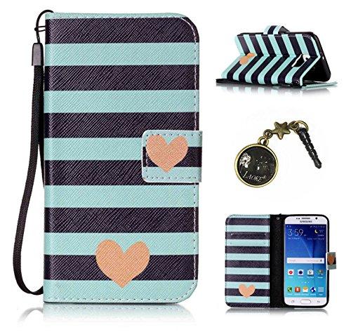 Para Smartphone Samsung Galaxy S6Funda Flip Cover Funda Piel [Tarjetero] funda piel cartera Executive Diseño + Polvo Conector beige 7 1