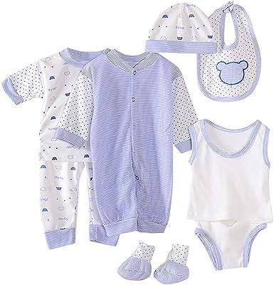 0-12 Meses, SO-buts 8pcs Recién Nacido Niño Bebé Niña Otoño Invierno Hospital Tops + Sombrero + Pantalones + Babero + Calcetines + Conjunto De Trajes De Mameluco (Azul Claro, 0-3 meses): Amazon.es: Ropa y accesorios