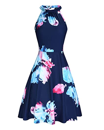 44ccea6db27 OUGES Women s Halter Neck Floral Summer Casual Sundress  Amazon.ca   Clothing   Accessories
