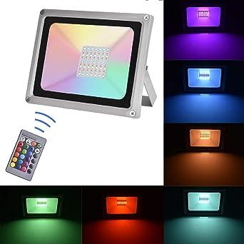 Sararoom 50W RGB Foco LED,IP65 focos led exterior,16 Colores ...
