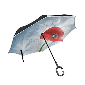 jstel doble capa puede Cool Poppy paraguas coches Reverse resistente al viento lluvia paraguas para coche