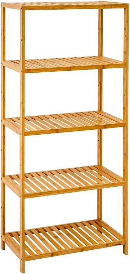 DuneDesign Estantería de almacenaje de pie 130x60cm estantes de Madera de Bambú