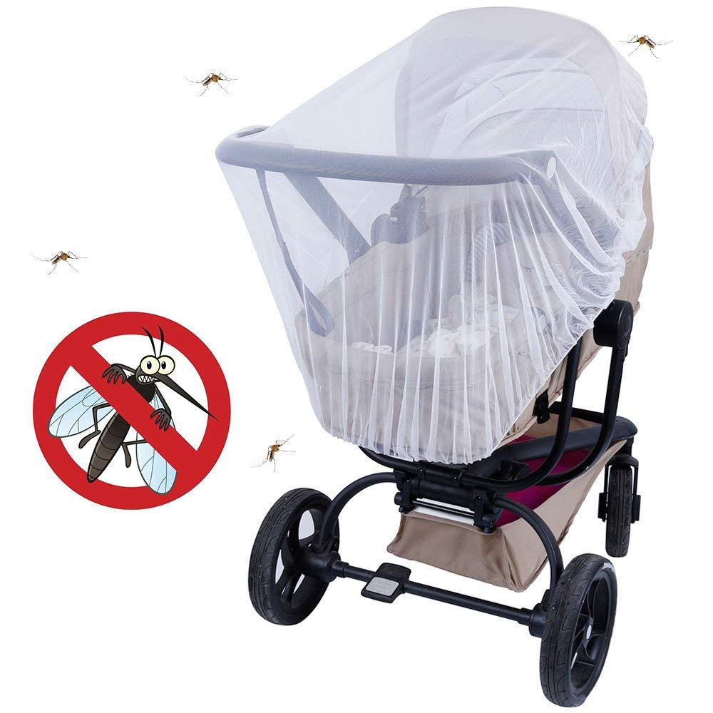 White Lictin Baby Infant Insect Net 57-inch-Diameter Elastic Stretches Crib Netting and Carrier Netting Insect Net for Stroller Bassinets Pushchairs Crib Baby Cart Full Cover Mosquito Net