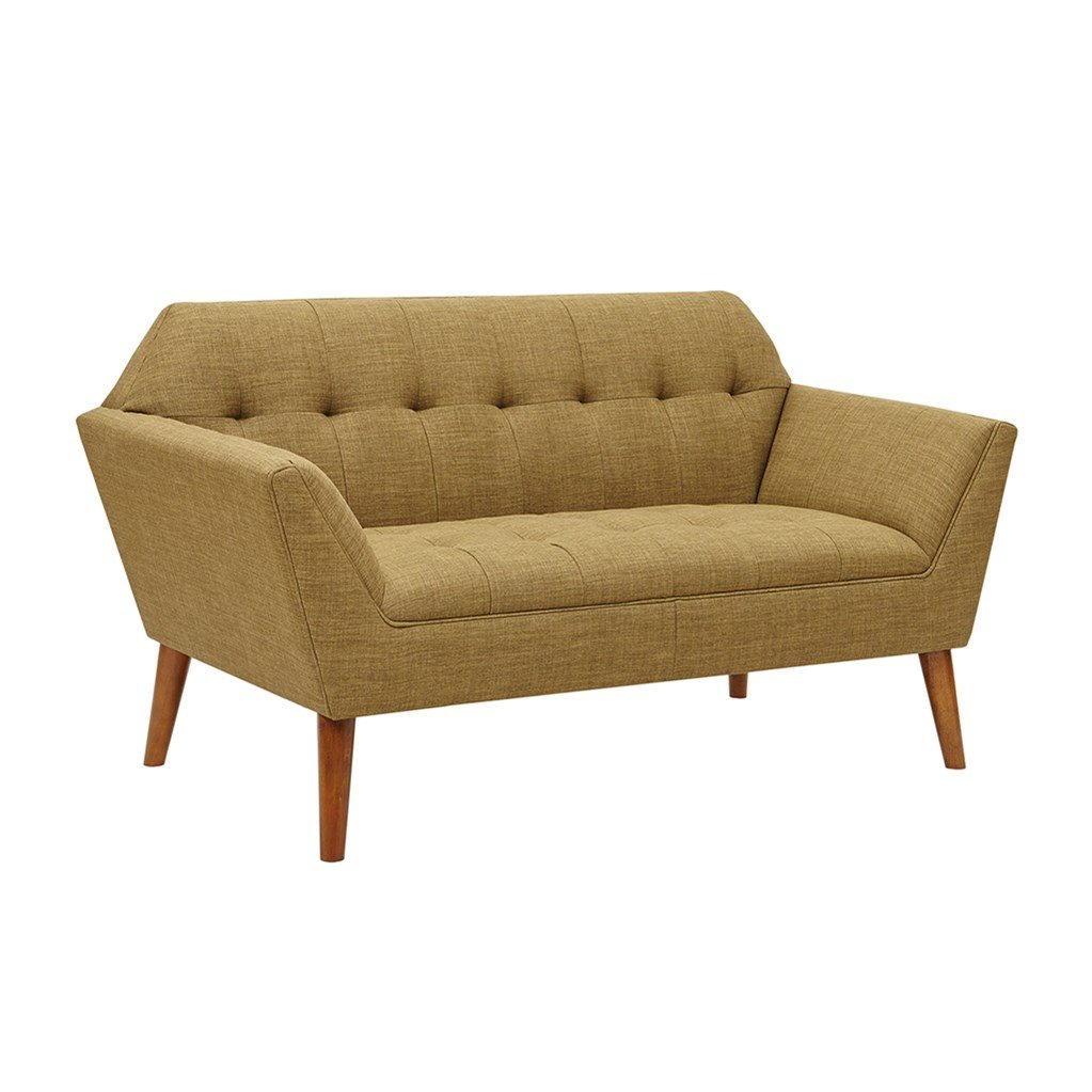 Mid Century Modern Light Brown Upholstery Button Tufted Loveseat Sofa with Dowel Wood Legs - Includes Modhaus Living (TM) Pen