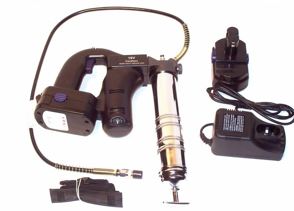 18 Volt Cordless Grease Gun 10 000 Psi With 2pc 18v Batteries 42 Flexible Hose
