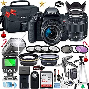 Canon EOS Rebel T7i DSLR Camera Bundle Canon EF-S 18-55mm STM Lens + 32GB Sandisk Memory + Canon Case + TTL Speedlight Flash (Good Upto 180 Feet) + Accessory Bundle