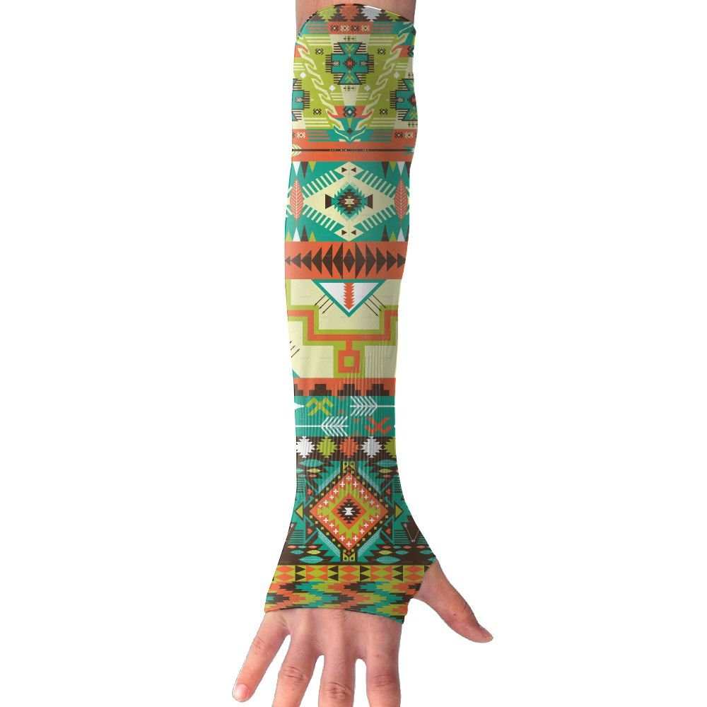 Native Style Seamless Pattern Sun Sleeves,UV Protection Cooling Arm Sleeves For Men Women (1 Pair)