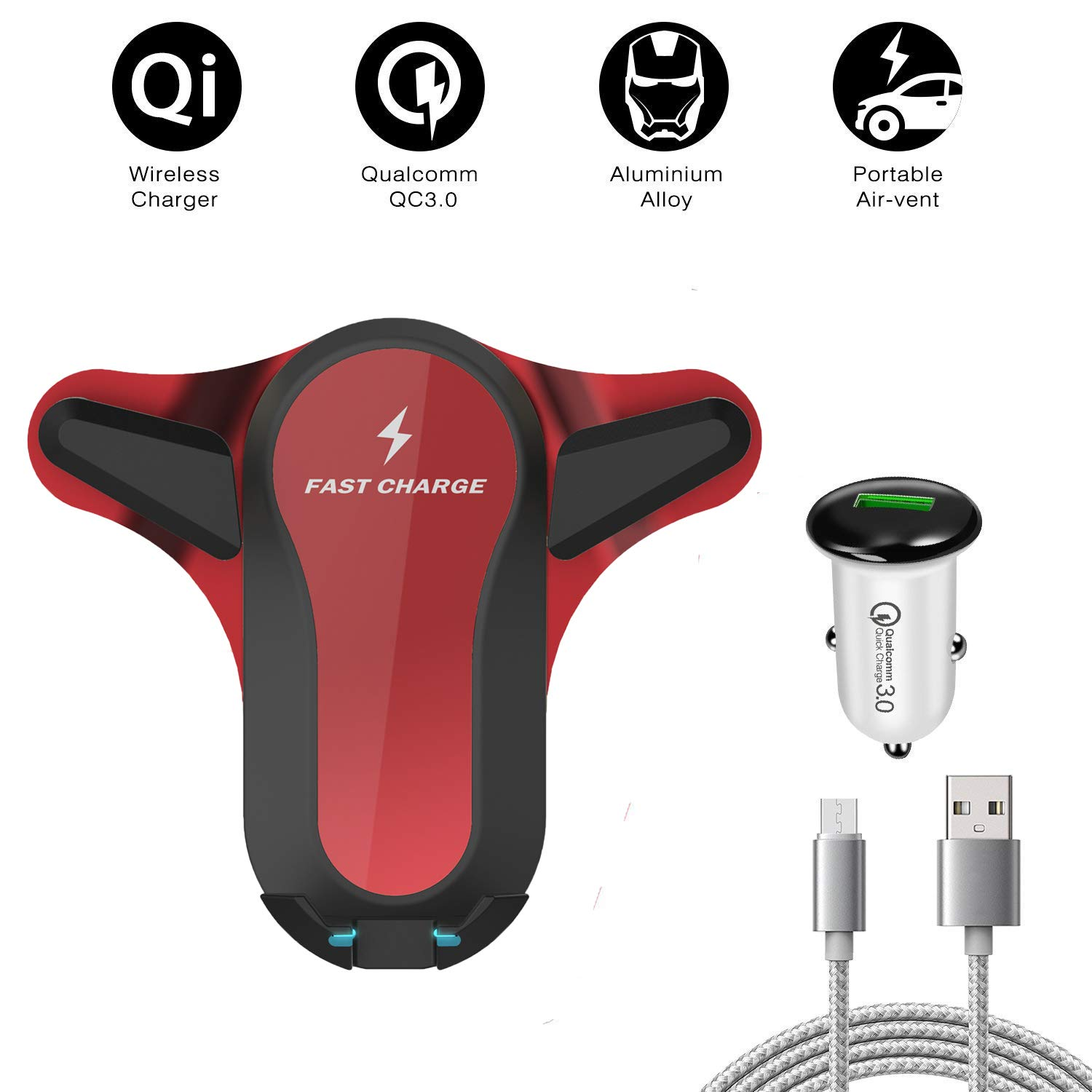 red Qi Wireless Fast Charger Car Mount Compatible with All Qi-Enabled Phones Air Vent Phone Holder Wireless Car Charger