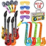 MIMIEYES Inflatable Instruments for Party Decoration Prop (18 Pieces Random Color)