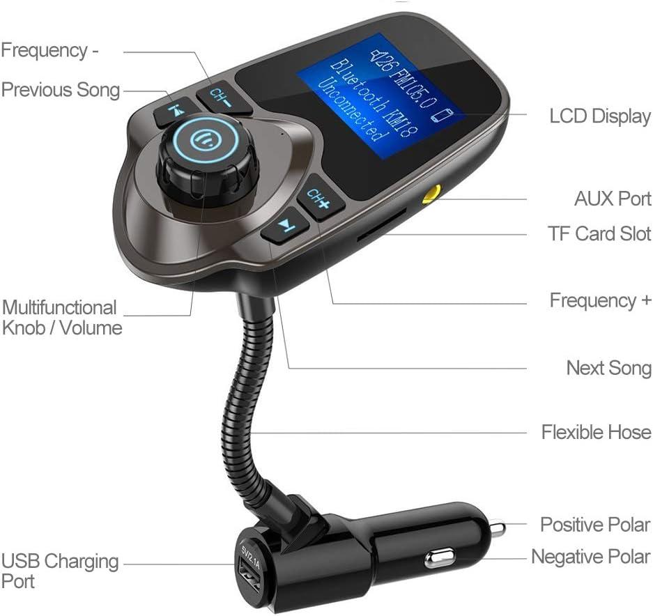 Nulaxy Bluetooth Car FM Transmitter Audio Adapter Receiver Wireless Handsfree Voltmeter Car Kit TF Card AUX 1.44 Display KM18 Coffee