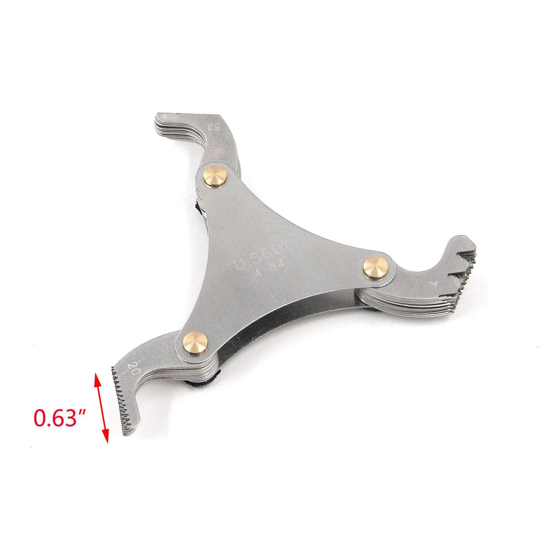 Tulead Pitch Gauge Tool Thread Gauge Stainless Steel Pitch Gauge 4-84 Teeth Thread Pitch Screw Gauge Measurement Metric 60/° 51PCS