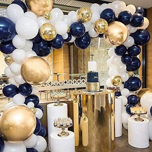 PartyWoo Blue and Gold Balloons 50 pcs 12 inch Navy Blue Balloons White Balloons Matte Balloons and Gold Confetti Balloons Gold Chrome Balloons for Royal Baby Shower, The Little Prince, Navy Party -