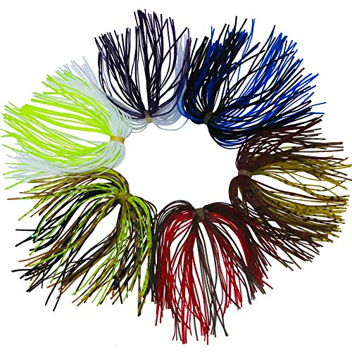 - JSHANMEI Silicone Jig Skirts Fishing Bait Accessories Fishing Jig DIY Spinnerbaits Buzzbaits Spoon Blade Squid Skirt Replacement Fly Tying Material (Pack of 10)
