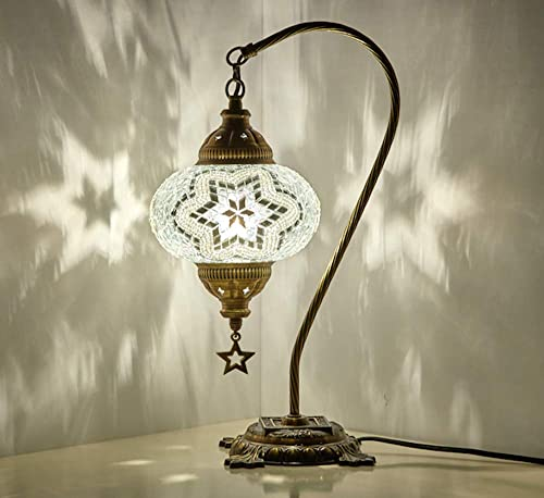 33 Colors DEMMEX 2019 Turkish Moroccan Mosaic Table Lamp with US Plug Socket, Swan Neck Handmade Desk Bedside Table Night Lamp Decorative Tiffany Lamp Light, Antique Color Body 6