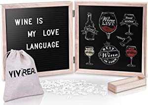 10'' x 10'' Felt Letter Board and 10'' x 10'' Chalkboard, 340 PRE-Cut White Letters, Black Felt Message Board, Wood Frame,Changeable Letter Board,Baby Announcement Board with Letters