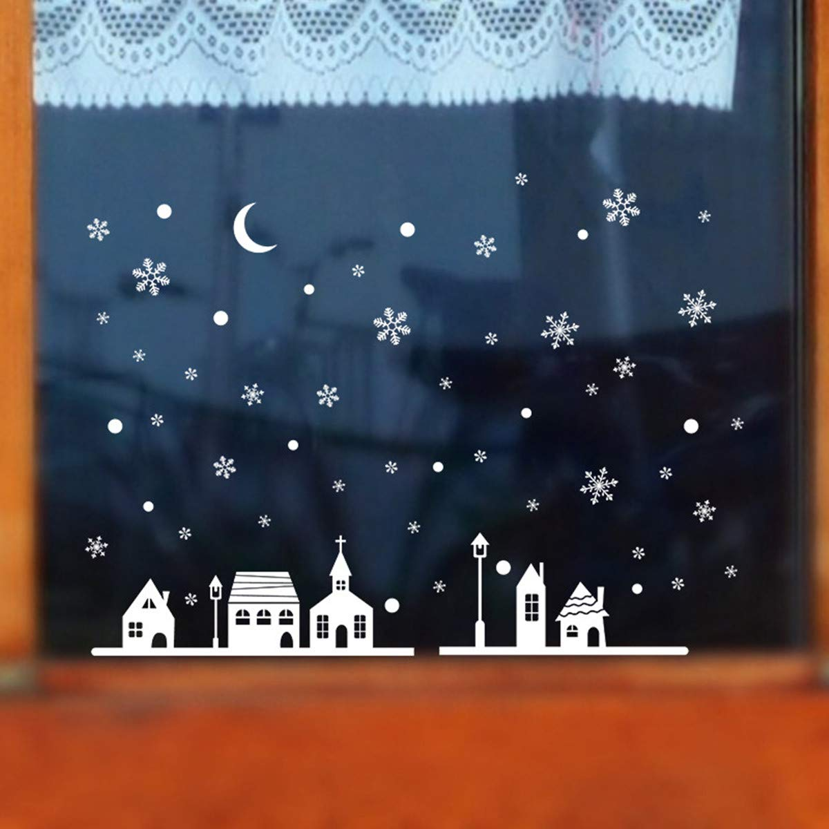 Christmas Window Decals PVC Wall Stickers Snowflakes Clings Xmas Kids Room Home Shop Decoration - Non-Toxic - Waterproof - Viahwyt (B) A96