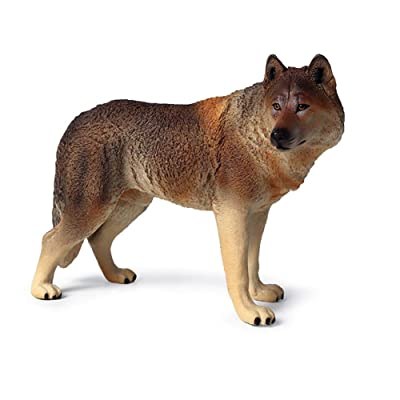 tbpersicwT 20cm Simulation Wolf Animal Model PVC Statue Educational Kids Toy Home Decor Child Interest Toy - Bronze: Toys & Games