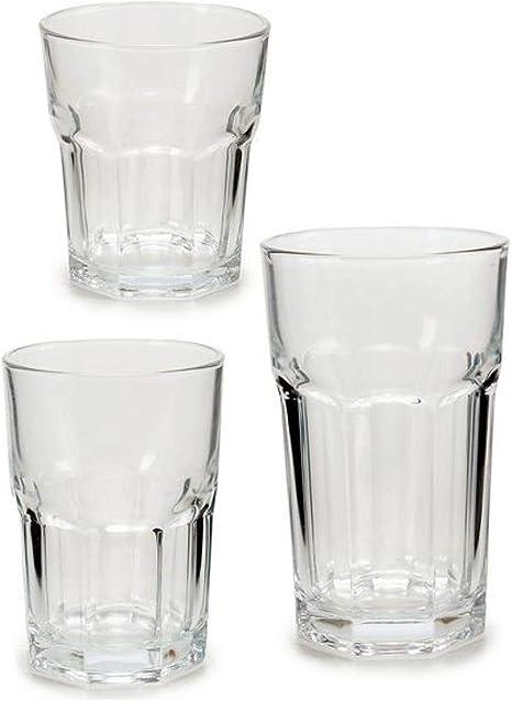 TU TENDENCIA UNICA Juego de 18 Vasos Cuadrados con Relieve Soda-Lime-silice Linea vivalto. 6 Vasos de 26 cl, 6 Vasos de 29 cl y 6 Vasos de 43 cl: Amazon.es: Hogar