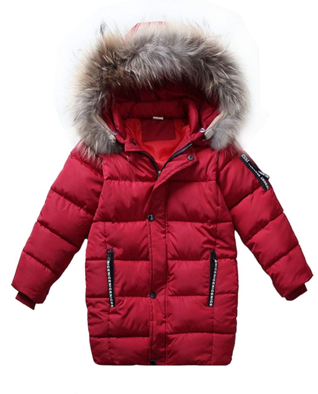 iDrawl Kids Boys Winter Padded Jacket Faux Fur Hood, Full Zip Casual Parka Coat Warm Outwear Age 3 to 13