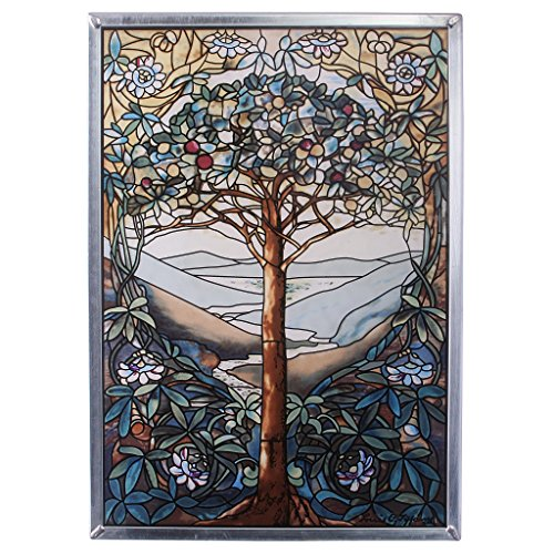 Stained Glass Panel - The Tree of Life Stained Glass Window Hangings - Art Glass Window (Blended Panels Wall Art)