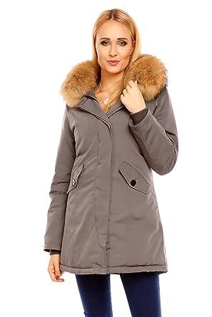 Damen mantel mit echtfell kapuze