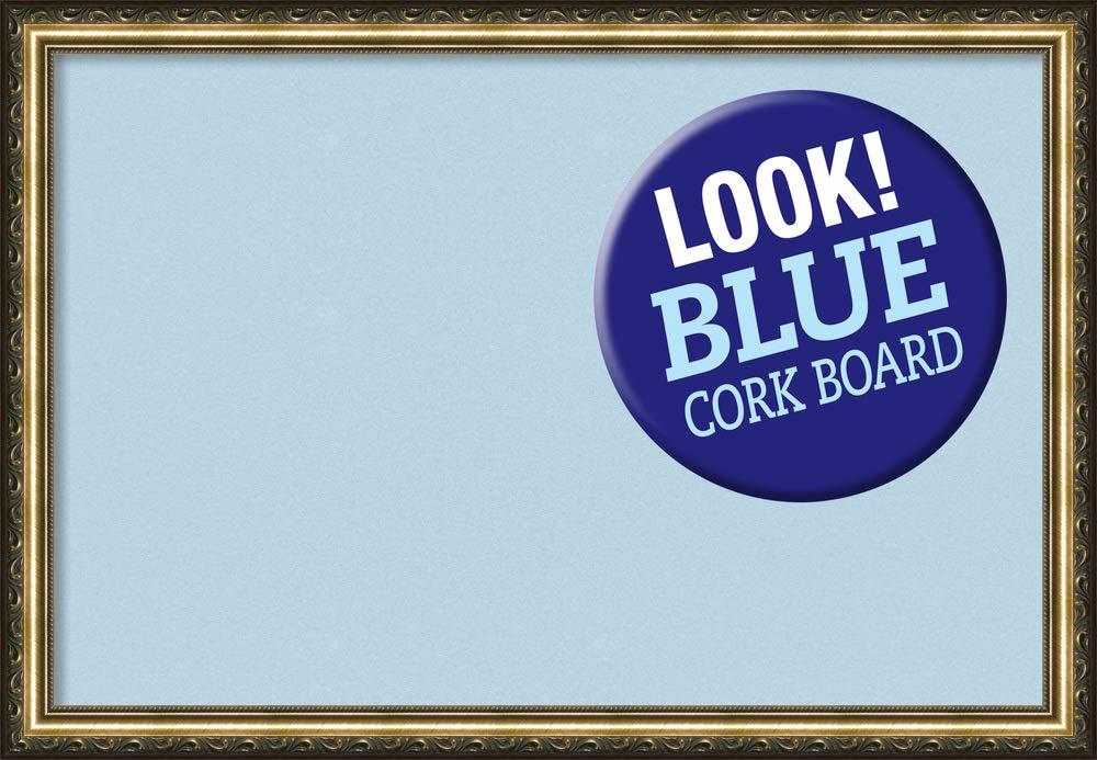 Amanti Art Outer Size 26 x 18 Framed Blue Cork Board Medium, Parisian Bronze