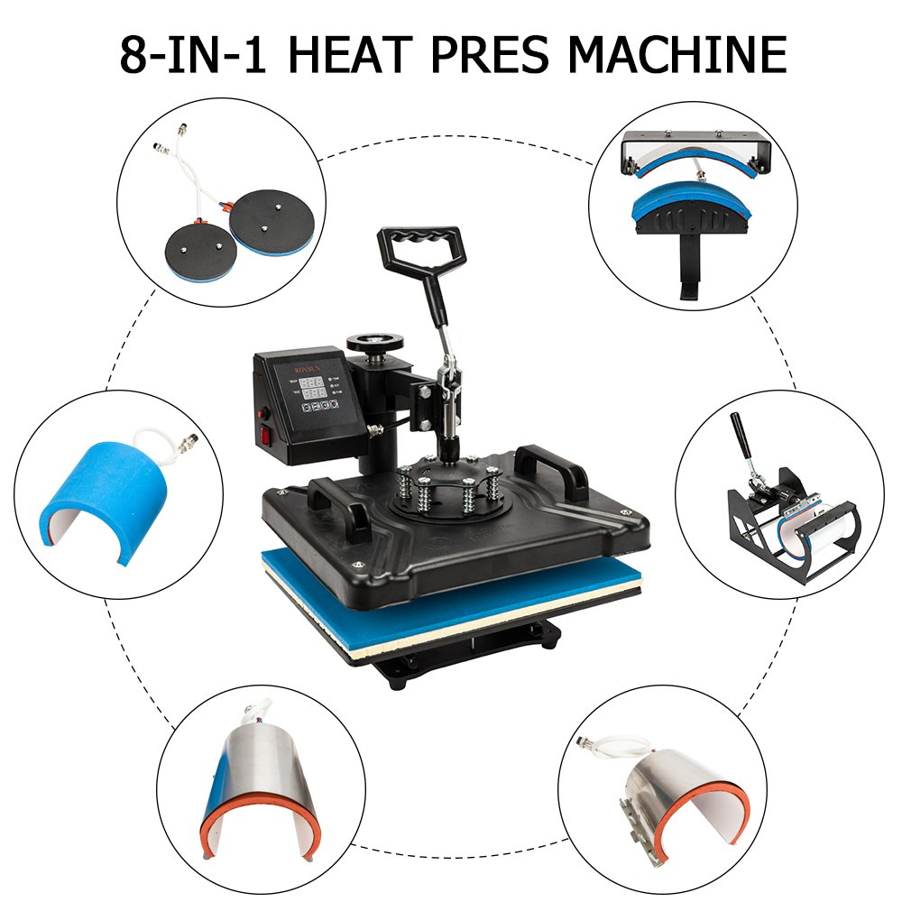 ROVSUN 8 in 1 Digital Heat Press Transfer Sublimation Multifunction Machine,Rhinestone/T-Shirt/Hat/Mug/Plate/Cap Press Pads DIY Press,12