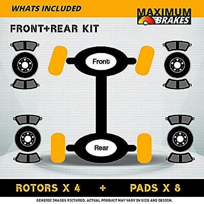 (Front+Rear Brake Kit)4 OE SPEC Cross Drilled Brake Rotors & 8 Ceramic Pads (Fits: 5lug): Automotive