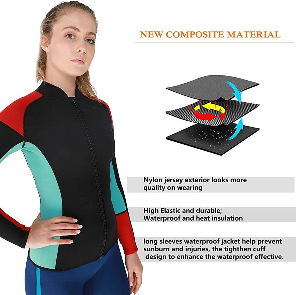 Women Top Wetsuit Long Sleeves Dive Jacket Suit for Swimming Diving Red