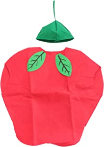 LUOEM Kids Fruit Vegetables Costume Children Party Cosplay Clothing for Children Toddler Boys Girls (Apple)